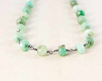 Green Chrysoprase Necklace – Beaded Boho Necklace