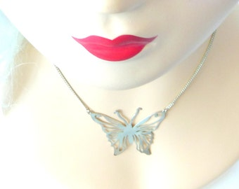 Butterfly Necklace - Silvertone - Dainty - Boho - Woodland - Cut Out Pattern - Gift - Adjustable - Recycled - Eco Friendly - Unique