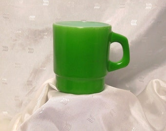 Vintage Grass Green D-Handle Stackable Fire King Anchor Hocking Coffee Mug