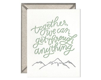 Get Through Anything encouragement letterpress card