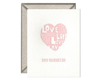 Love Heart letterpress card - single