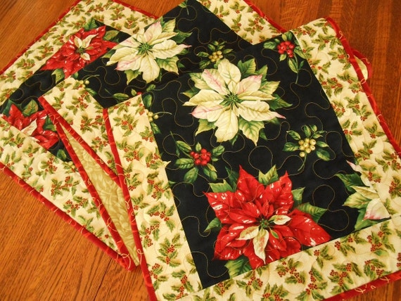Items similar to christmas quilted table runner with