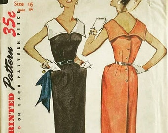 Vintage 1950s Sewing Pattern V Neck Front or Back Large Collar Back Buttoned Dress  1954 Simplicity 4701 Bust 34