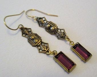 Amethyst Purple Victorian Earrings - Brass Dangle - Vintage Glass Bead - Downton Abbey Inspired