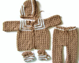 Coming Home Outfit, Newborn Sweater Set, Baby Boy Outfit, Light Brown, Crocheted Sweater Set, Newborn Layette