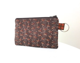 Country Brown Branches Zippered Bag / Coin Purse / Id Case / Gadget Pouch with Split Ring - READY TO SHIP