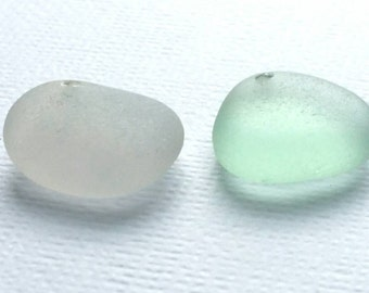2 Drilled Sea Glass Big Charms Drilled Seaglass Sea Foam Sea Glass Charm Pale Lavender Sea Glass   (845)