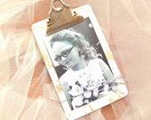 Vintage Formica Patterned Clip Board for Photo Frame Display Wedding Christening Baby