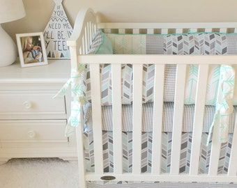 Ritzy Baby Custom Made To Order Mint Arrows and Grey Houndstooth 3pc Crib Bedding, Payment Options Available!