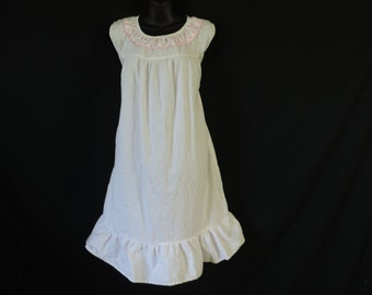50s pink nightgown polka dot embroidered ruffle summer gown nightie medium large