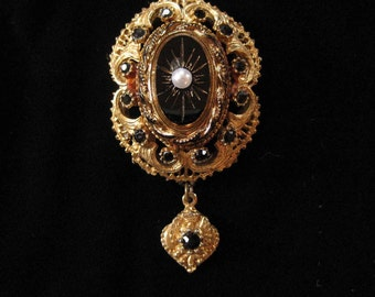 Victorian Revival Brooch with Dangling Charm by SPHINX