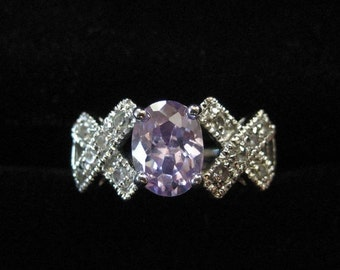 Pretty Purple Stone Ring with Side X Pattern Size 6.5