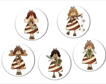 Christmas Angel Magnet Set of 5 Folk or  Primitive Style Angels  2 1/4 inches in diameter
