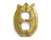Tulip Shaped Antiqued Gold Outlet Plate Cover Hanna Hardware Vintage 1970s Shabby Chic Floral Cast Metal Cover