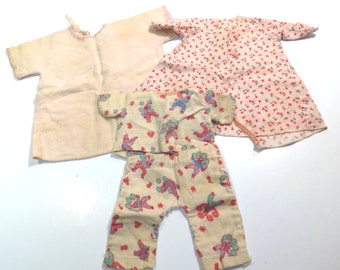 Nighttime Sleepwear Doll Cloths Vintage 1940s Small Doll PJs and Robe Set