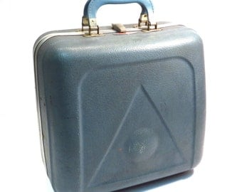Blue Hard Sided Bowling Case Vintage 1950s 1960s Rockabilly Triangle Ball-A-Vator Bowling Ball Bag Overnight Luggage