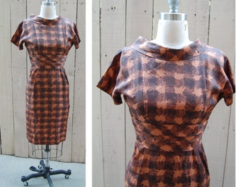 1960s Plaid Gingham Wiggle Vintage Rachel Dress - Size Extra Small