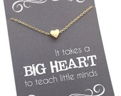 """Teacher gifts - Tiny Gold or Silver Heart Necklace - Teacher appreciation carded gift """"It takes a big heart to teach little minds"""""""