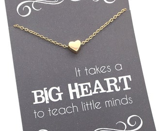 "Teacher gifts - Tiny Gold or Silver Heart Necklace - Teacher appreciation carded gift ""It takes a big heart to teach little minds"""