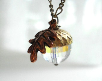 Acorn Necklace with Copper Leaf, April Birthday Gift For Her, Fall Wedding Bridesmaid Jewelry, Aurora Borealis Crystal, Autumn Jewelry