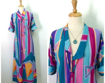 1970s Rainbow Long Tunic Robe Gown by Grenada graphic print dress M/L