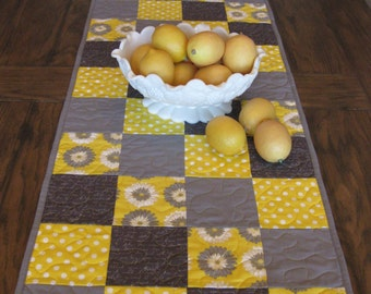 SALE Yellow and Gray Table Runner