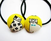 Button Ponytail Holders - Cats on Yellow