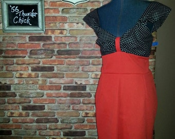 Rockabilly clothing/Pin Up Clothing/Red and black Polka dot dress/ Wiggle dress