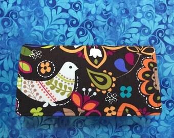 Checkbook Cover with a Folk Art Style Bird