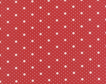 Moda Fabric MISS SCARLET Cream Dots on Red- yards