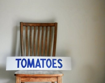 Vintage Tomatoes Sign, General Store Decor, Grocery Sign, Cardboard Sign, Rustic Kitchen Decor