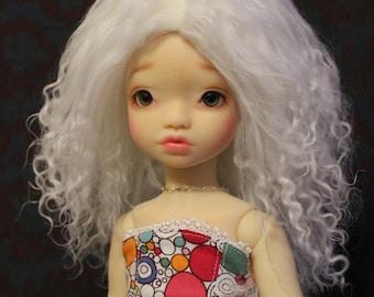 Angelic White mohair wig for MeadowDolls Elleki doll