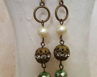 Filigree Earrings, Green Crystal Dangle Earrings, Vintage Earrings