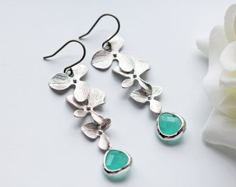 Matte Silver Orchid Mint Glass Earrings Cascade Style Flower Dangle Modern