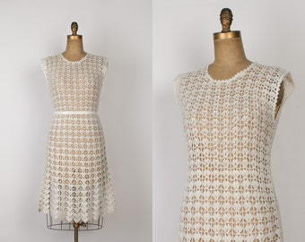 1960s Crochet Knit Dress - Vintage 60s Hand Knitted Wool Dress - Natural Cream Open Knit Lace Dress Made in England - s / m / l