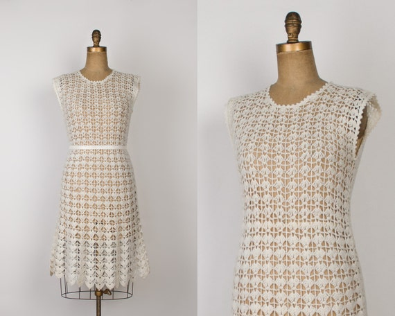 Vintage 70s Hippie Prairie Girl Wedding Dress Gown S M: 1960s Crochet Knit Dress Vintage 60s Hand Knitted Wool Dress