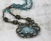 Vintage Assemblage Art Nouveau Necklace, Art Nouveau Aqua Jeweled Necklace, Encased Aqua Jeweled Nouveau Pendant with Vintage Aqua Rosaries
