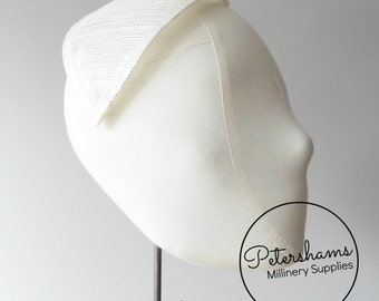 XL Teardrop Millinery Sinamay Hat Base for Fascinators and Cocktail Hats - Ivory