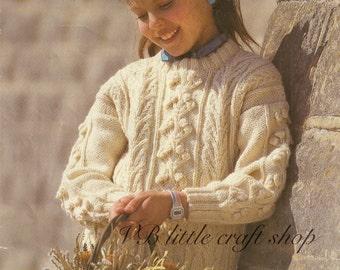 Child's aran sweater knitting pattern. Instant PDF download!