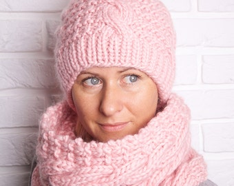 Aran Hat and Cowl knitting pattern. Instant PDF download!