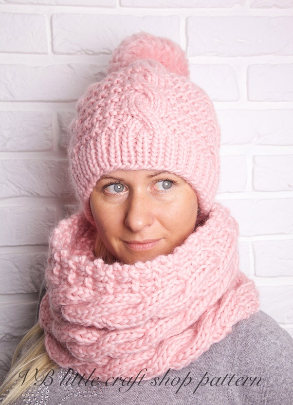 Aran Hat And Cowl Knitting Pattern Instant Pdf Download