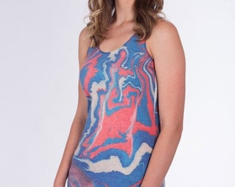 Womens MARBLED PAPER Tank Top --- Red White Blue USA Yoga Workout Tri-Blend Racerback Sm Med Lg Xl XXl