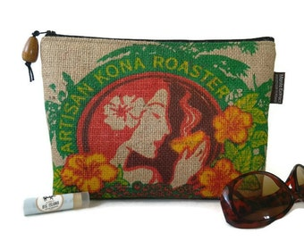 New Design ~ Aloha Clutch with Koa Wood Pull and Repurposed, Island Girl Coffee Bag. Handmade in Hawaii.