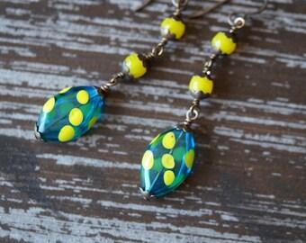 Green Polka Dot Earrings Hand Blown Glass Earrings - Hollow Glass - Teal and Yellow - Statement Earrings - Boho Earrings - Bead Soup Jewelry