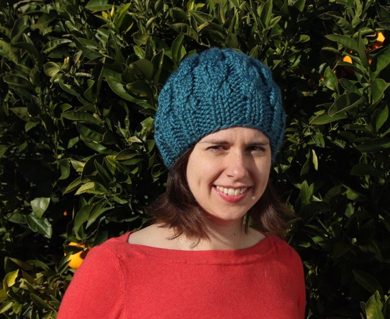 Hand knit cable beret slouch hat - soft wool blend