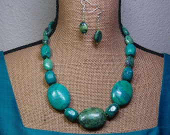 Natural Chrysocolla Gemstone, 925 Silver Necklace and Earrings