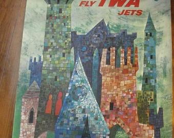 30% off SALE Flyin' High - Vintage TWA Ireland David Klein Airline Poster