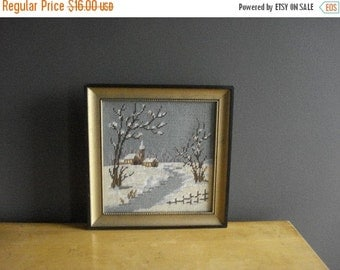 30% off SALE Winter in the Country - Crossstitch Needlework Picture - Vintage Framed Cross Stitch Landscape