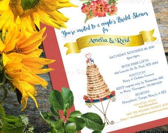 Swedish Wedding Cake - Swedish Wreath Cake -  Kransekake - Bridal - Birthday PRINTED INVITATIONS - Custom Accent Color Available