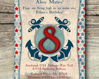Patriotic - Nautical - Battleship - Military Invitation & Announcement - 12 printed invitations with envelope